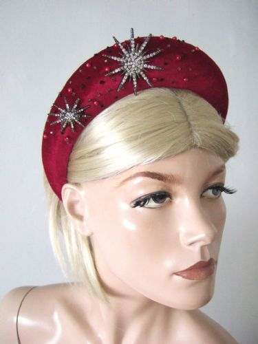 Berry Red Velvet Thick Padded Wide Headband - Snowflake Crystal Embellished - Wedding - Bridesmaids